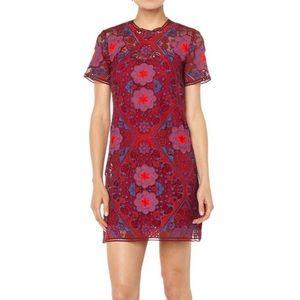 Sandro Red Lys Geometric Lace Mini Dress